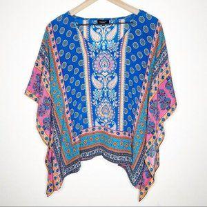 Tolani Briyana Blue Pink Paisley Silk Poncho Top S